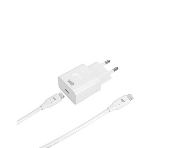 Bundle Chargeur secteur 3A + câble USB-C/USB-C USB 2.0 blanc