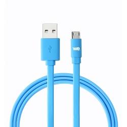Câble USB/micro USB plat réversible 2m Bleu