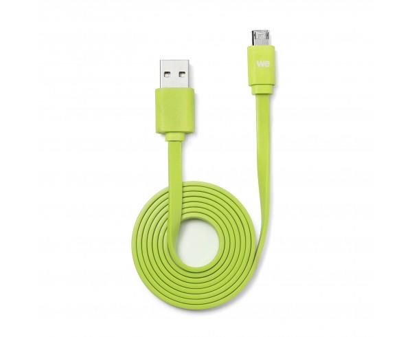 Câble USB/micro USB plat REVERSIBLE 1m Vert