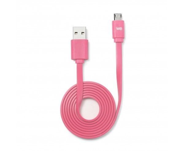 Câble USB/micro USB plat REVERSIBLE 1m Fuchsia