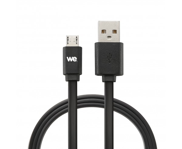 Câble USB/micro USB plat réversible 2m Noir