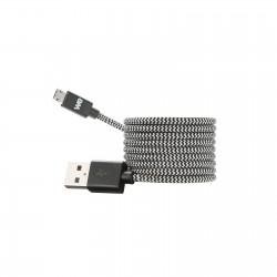 Câble USB / Micro USB nylon tressé connecteur Micro USB reversible 1m - noir & blanc
