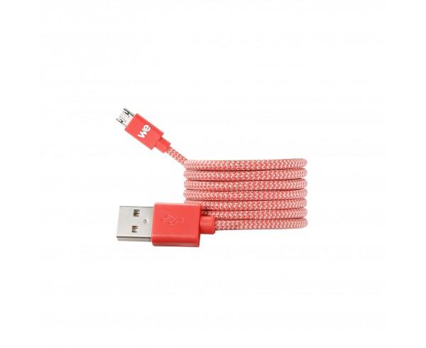 Câble USB / Micro USB nylon tressé connecteur Micro USB reversible 1m - rouge & blanc