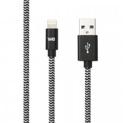 Câble USB/Lightning nylon tressé noir et blanc