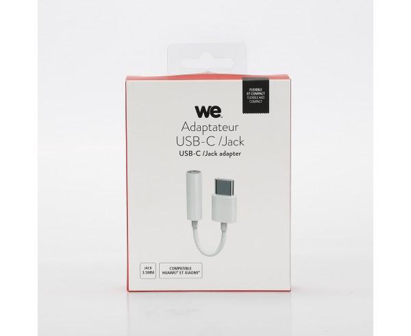 Adaptateur USB-C/jack 3.5mm femelle - blanc