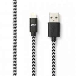 Câble USB/Lightning nylon tressé 1m - noir & blanc