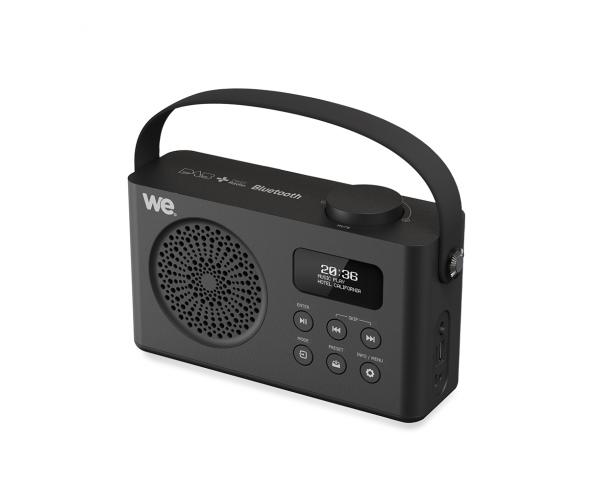 Radio réveil portable DAB/DAB+ / FM RMS 3W, batterie rechargeable Lecteur USB/Micro SD, BT prise secteur, Noir