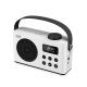 Radio réveil portable DAB/DAB+/FM RMS 3W, batterie rechargeable Lecteur USB/Micro SD, BT prise secteur, blanche