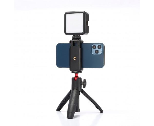 Kit Vlog pour smartphone trépied hauteur réglable, incl+orie lumière LED, batterie rechargeable